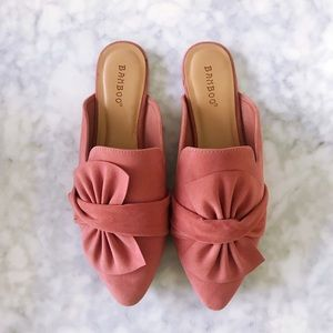 Pink Bow Flat Mules
